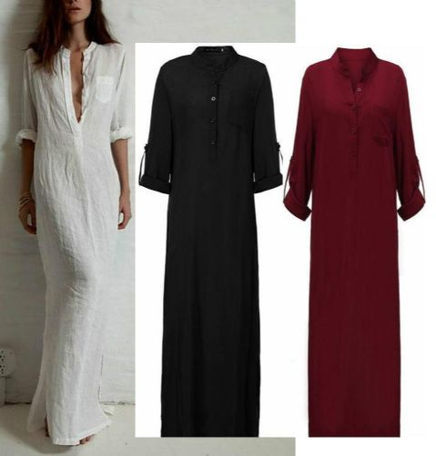 Women Boho Deep V Neck Long Sleeve Kaftan Party Split Long Maxi Shirt Dress